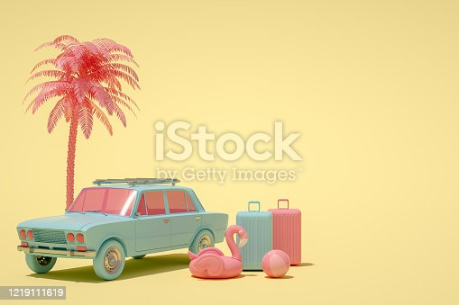 istock 3D Car and Luggage, Minimal Summer and Travel Concept 1219111619