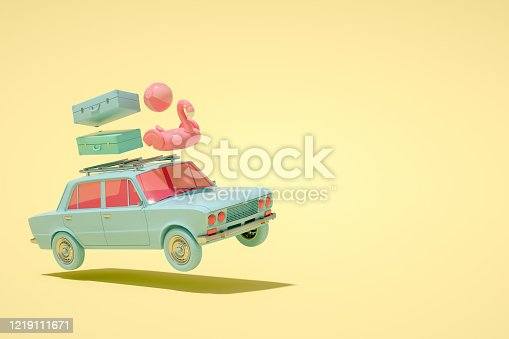 istock 3D Car and Luggage, Minimal Summer and Travel Concept 1219111671