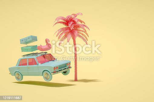 istock 3D Car and Luggage, Minimal Summer and Travel Concept 1219111687