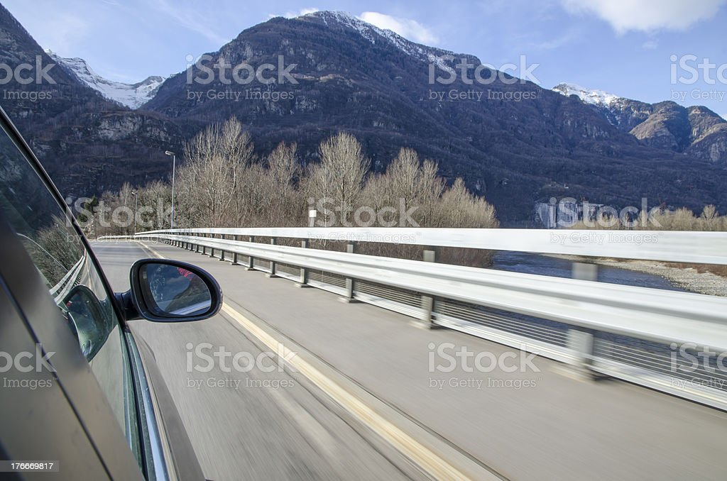 Car and mountain royalty-free stock photo