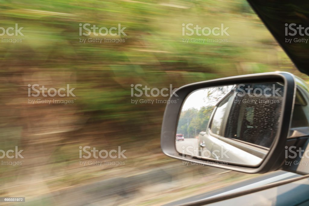Car and rear view mirror. stock photo