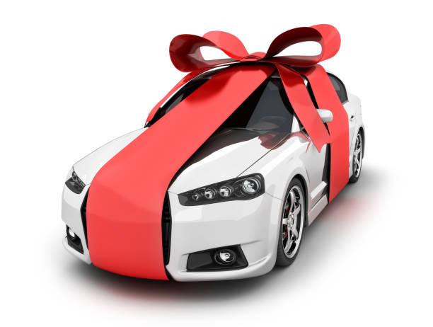 Auto und rote Schleife Geschenk – Foto