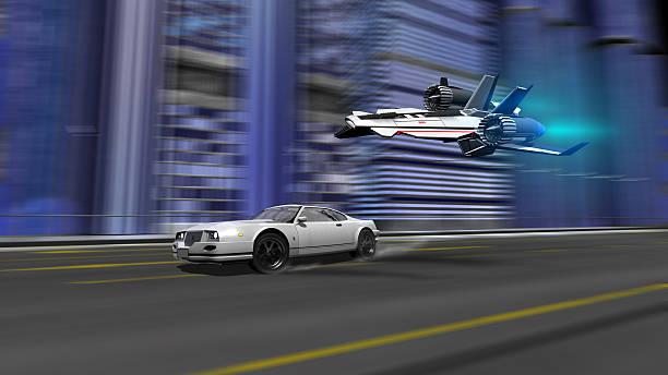 Auto und Raumschiff racing Motiv – Foto