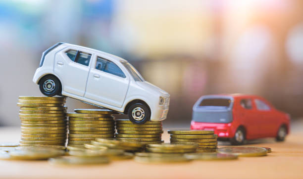 Car and stack of coin. Saving money for car concept. Car finance, buy car new concept. Car and stack of coin. Saving money for car concept. Car finance, buy car new concept. depreciation stock pictures, royalty-free photos & images