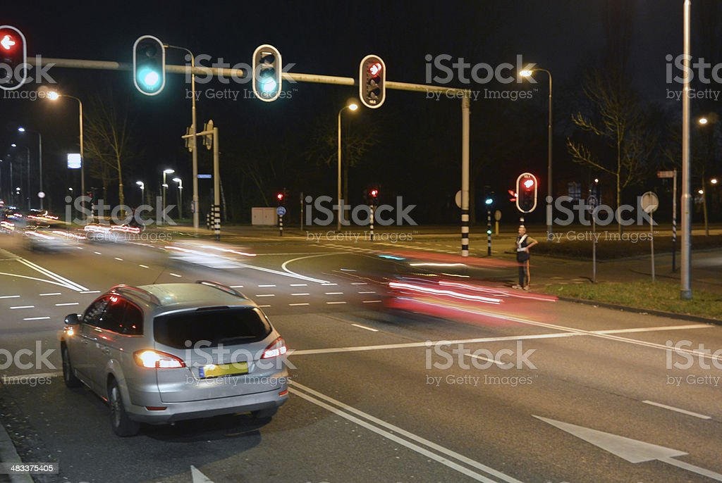 car at red light stock photo