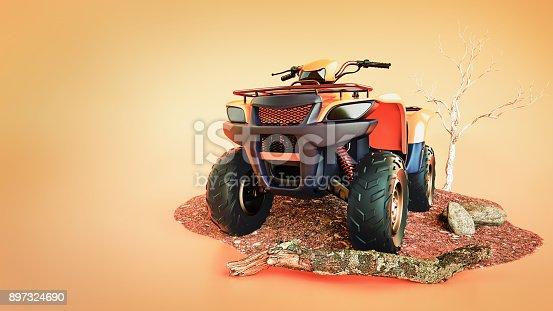istock Car ATV orange is an orange background. 897324690