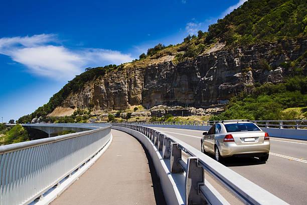 Car Au cliff road stock photo