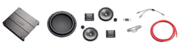 car audio, car speakers, subwoofer and accessories for tuning. Top view. Banner. Isolated white background. stock photo