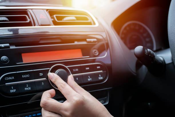 car audio system concept. music player in car. - radio foto e immagini stock