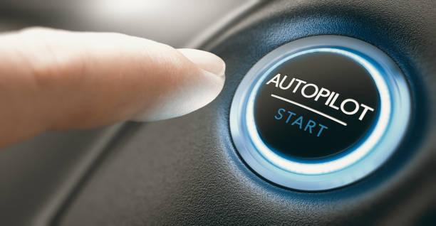 Car Autopilot Switch Button. stock photo