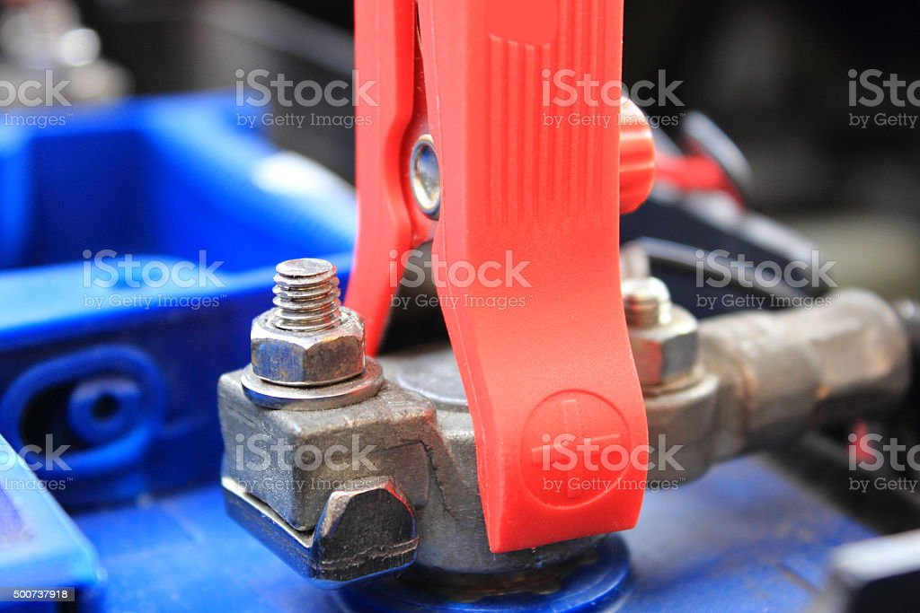 Car battery charging stock photo