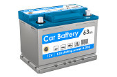Car Battery closeup, 3D rendering isolated on white background