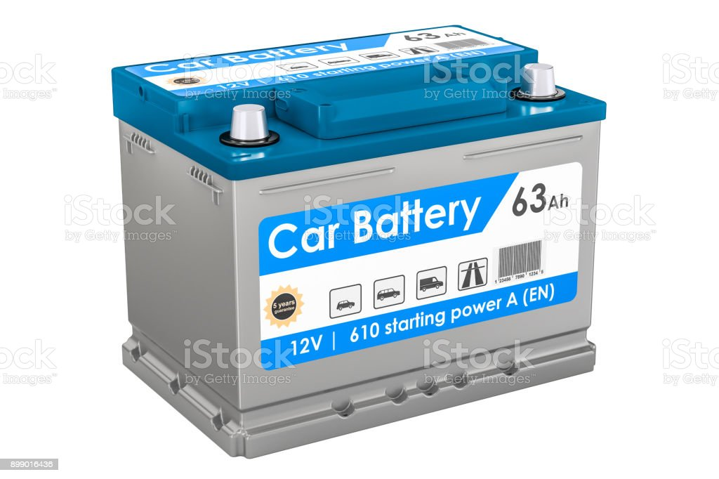 Car Battery closeup, 3D rendering isolated on white background stock photo
