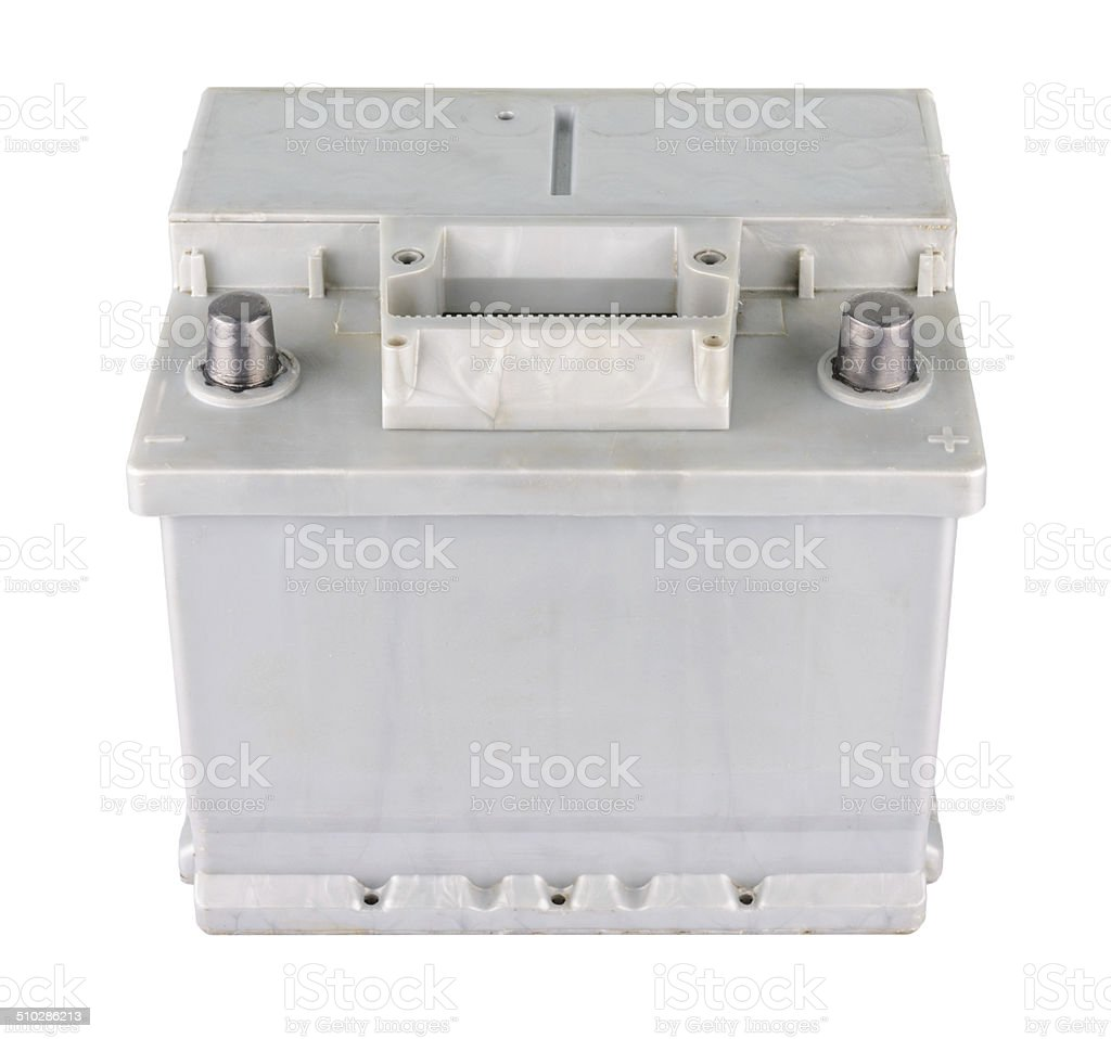 Car battery isolated on white stock photo