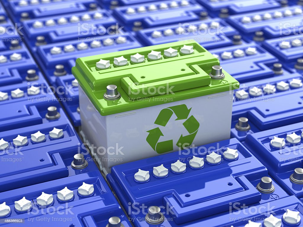 Car battery recycling. Green energy. Background from accumulator stock photo