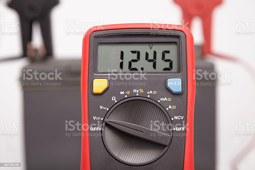 car battery voltage stock photo