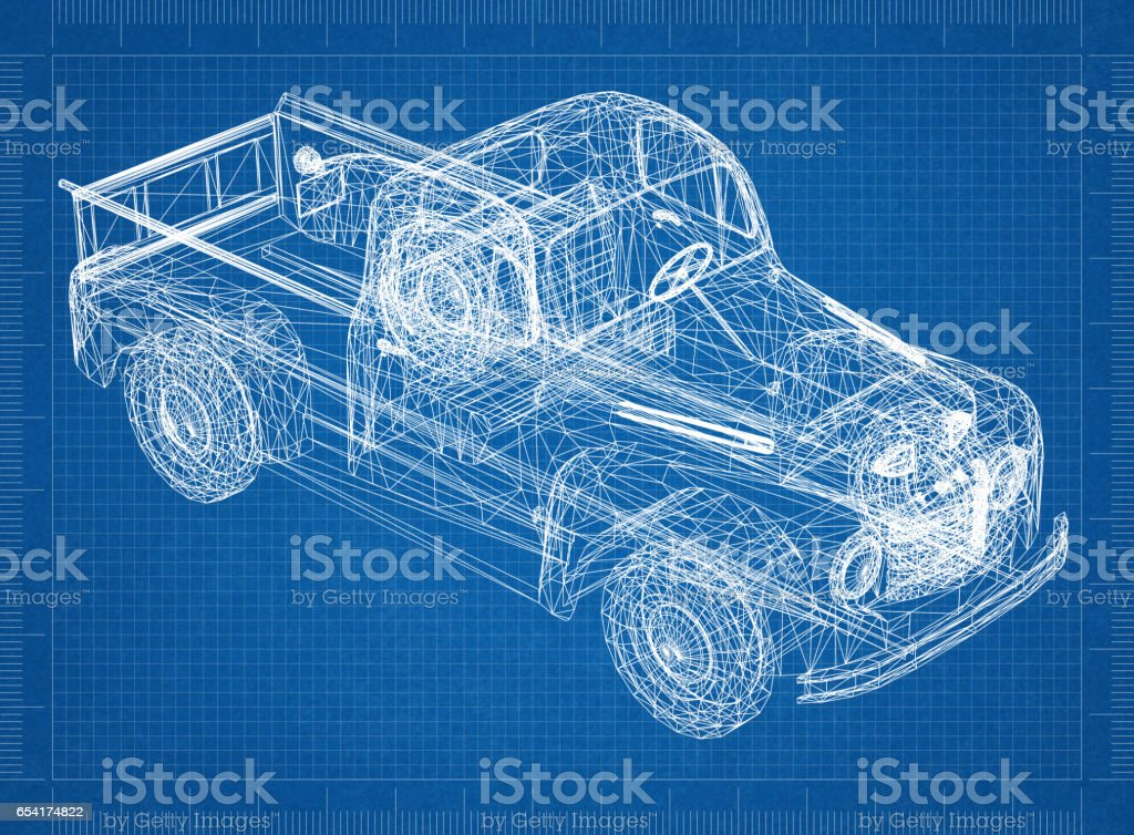 Car Blueprint 3d Perspective Stock Photo & More Pictures of ...