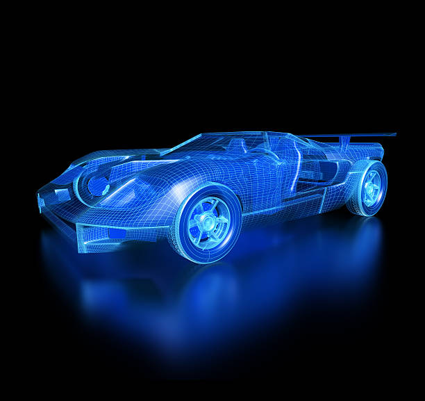 Car Blueprint-with clipping path [color=red]3d Car Blueprint-with clipping path[color] concept car stock pictures, royalty-free photos & images