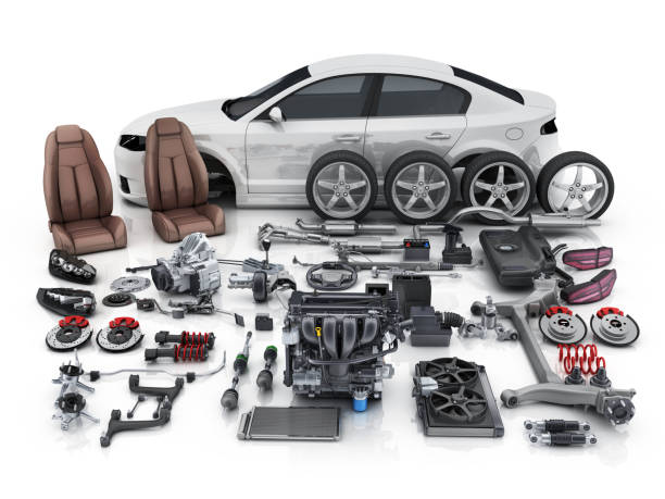 Car body disassembled and many vehicles parts stock photo