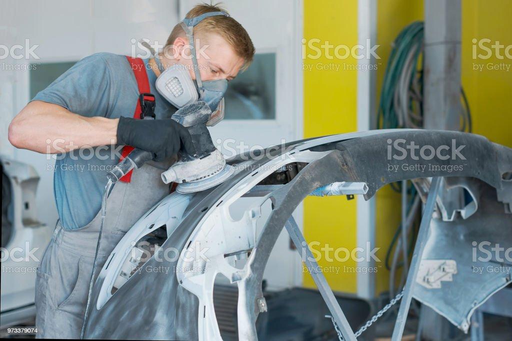 Car body repair stock photo