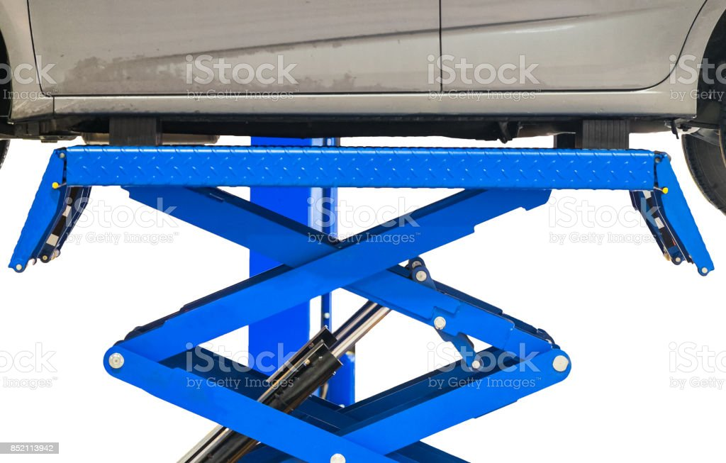 Car body side lifting scissors blue stock photo