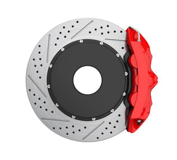 汽車刹車盤和紅色卡尺隔離 - 剎車制 個照片及圖片檔