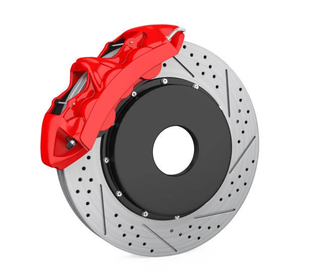 disque de frein de voiture et étrier rouge isolé - disque de frein photos et images de collection