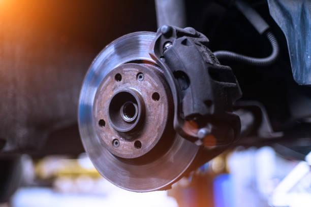 bilen bromsa disken och bromsok som närbild utan hjul i kalla färger med vackra bakgrundsbelysning - ta en paus bildbanksfoton och bilder