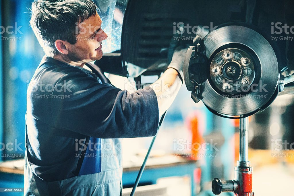Car braking system repair. stock photo