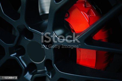 Car braking system. Sport car front wheel support brake