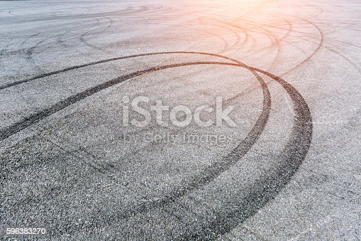 istock Car Braking track on the asphalt road 596383270