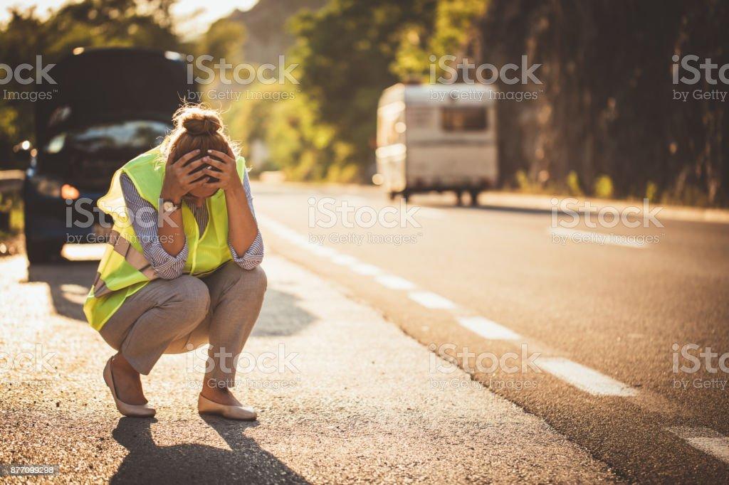 Car Breakdown on the Road stock photo