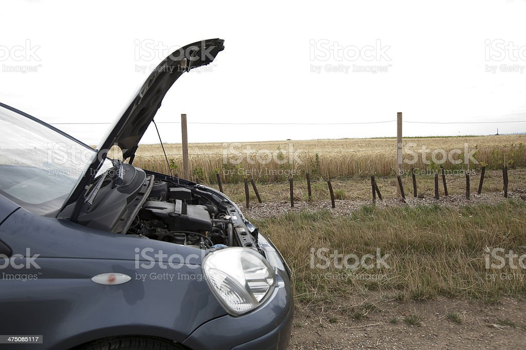 Car Broken Down in Countryside stock photo