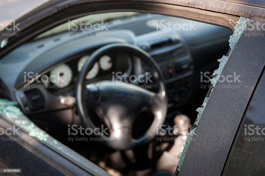 Car broken window stock photo