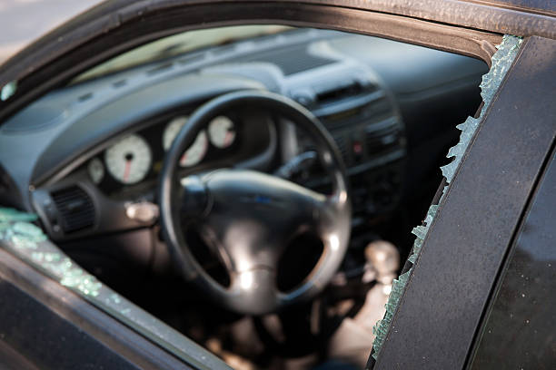 Car broken window stock photo