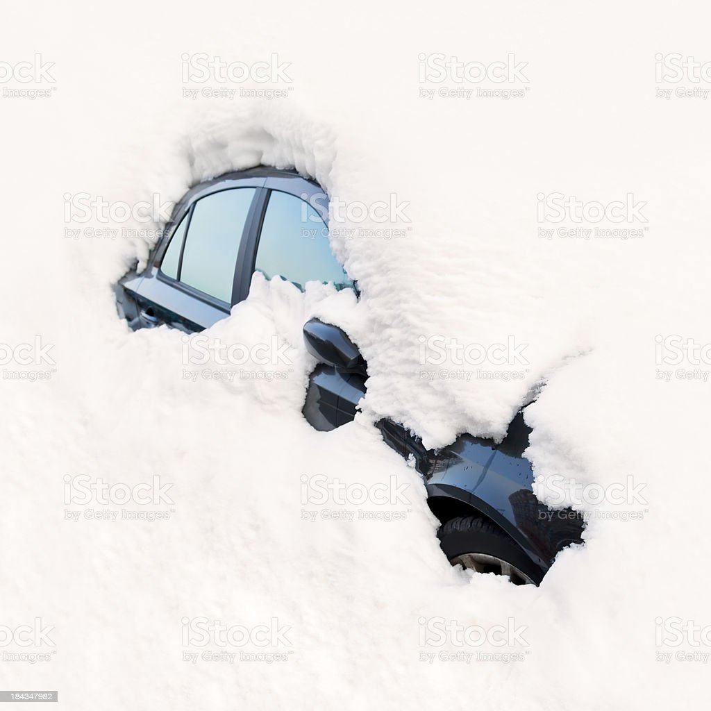 Car Buried in Snow / Avalanche stock photo