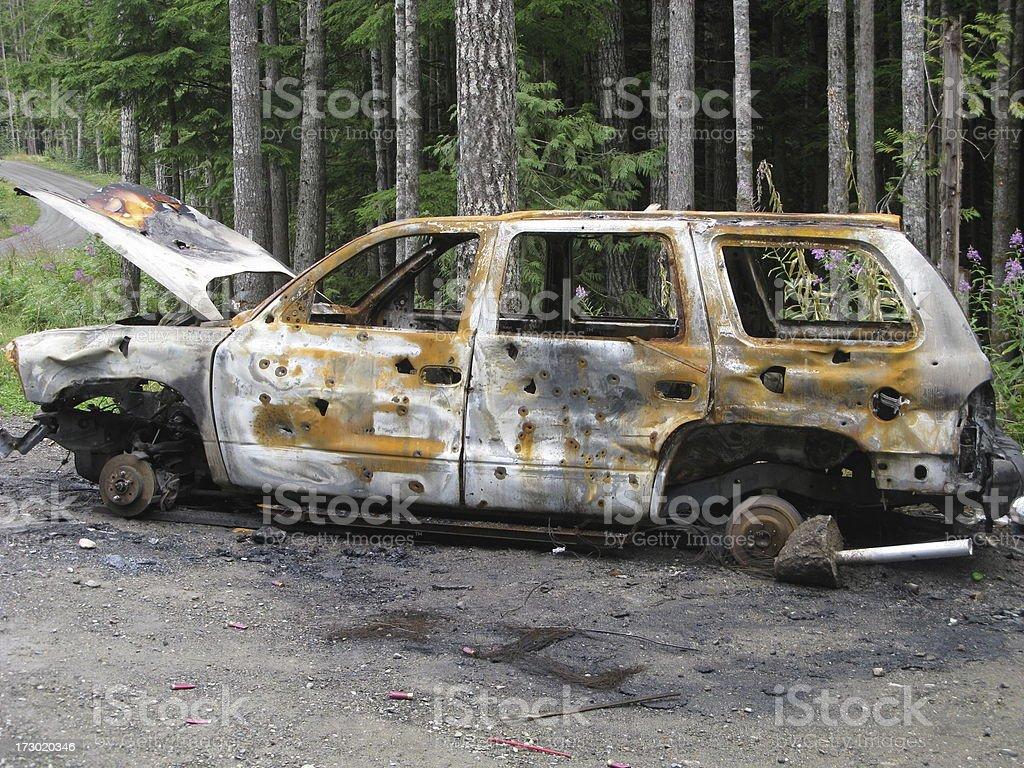 Car Burnt  Bullet Holes Grunge Rust royalty-free stock photo