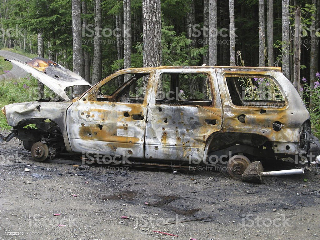 Car Burnt  Bullet Holes Grunge Rust stock photo