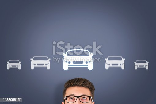 istock Car Button over Human Head on Screen 1138058151