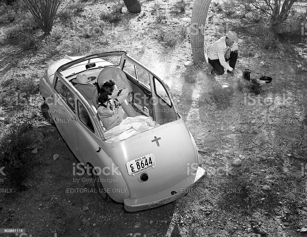 car camping in 1948 Crosley convertible car stock photo