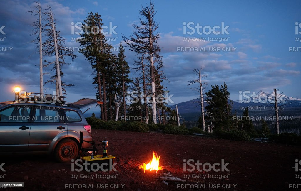 Car Camping In Oregon Wilderness With Mountain View Stock Photo