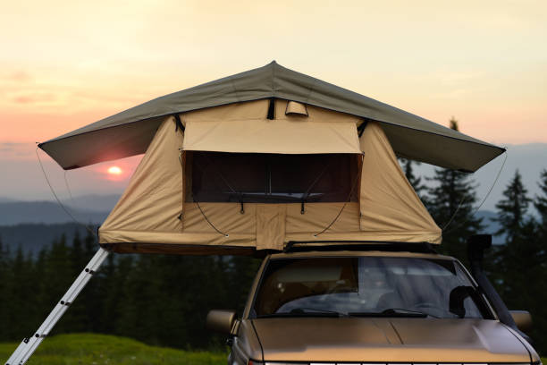Car camping tent stock photo