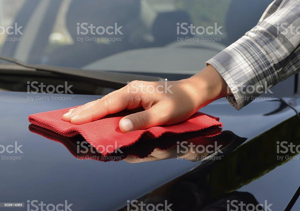 Car Care - Polishing a Black Car stock photo