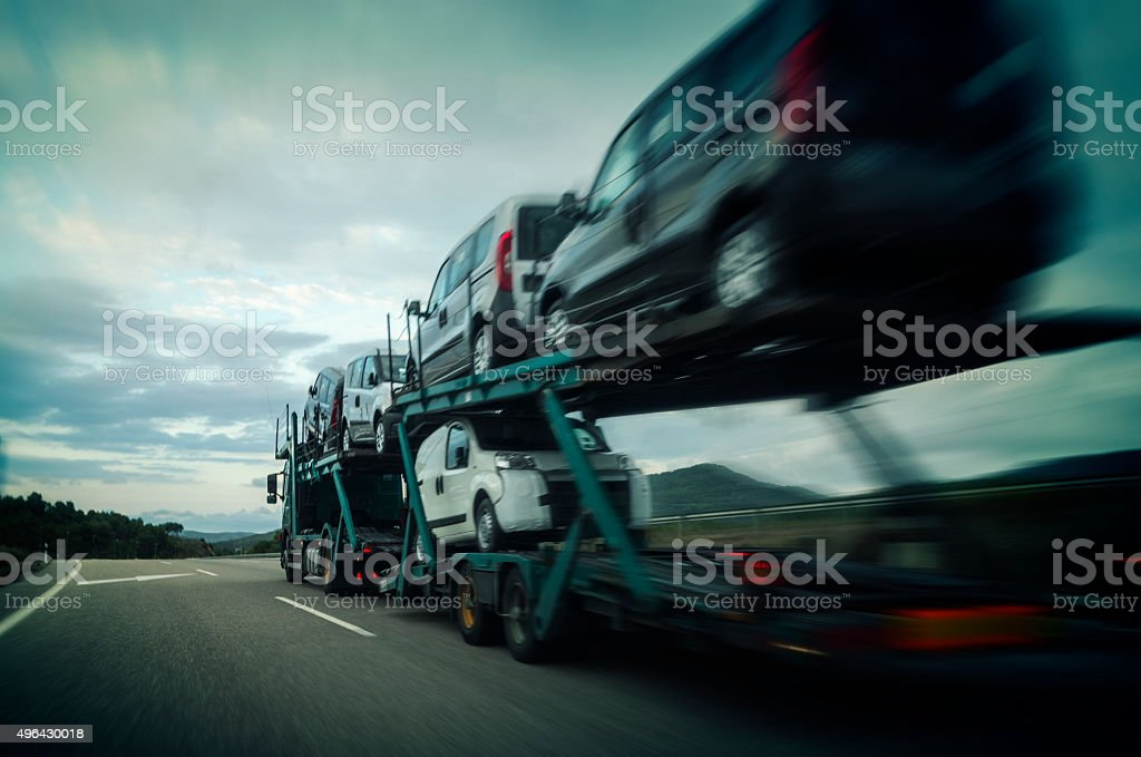 Car carrier trailer stock photo