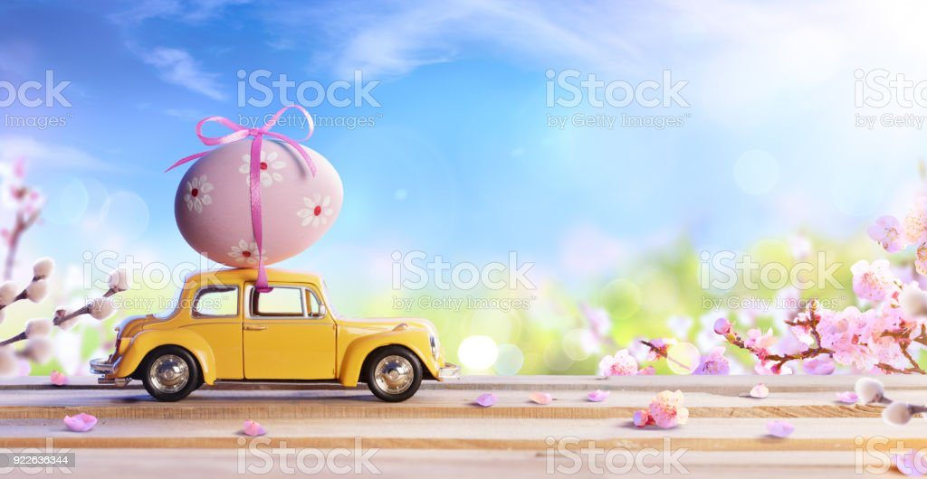 Car Carrying Easter Egg stock photo