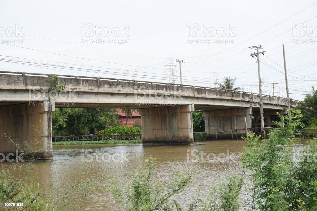 car cement bridge between province Chachoengsao and Samutprakan stock photo