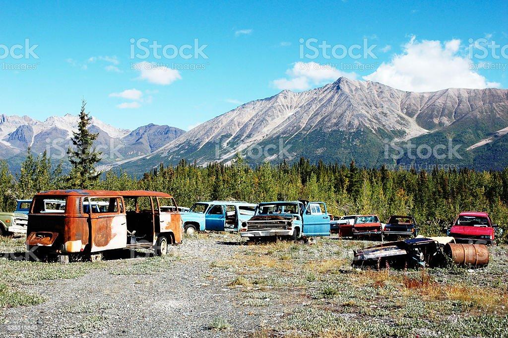 Car cemetery in Wrangell St-Elias National Park,Alaska,USA. stock photo