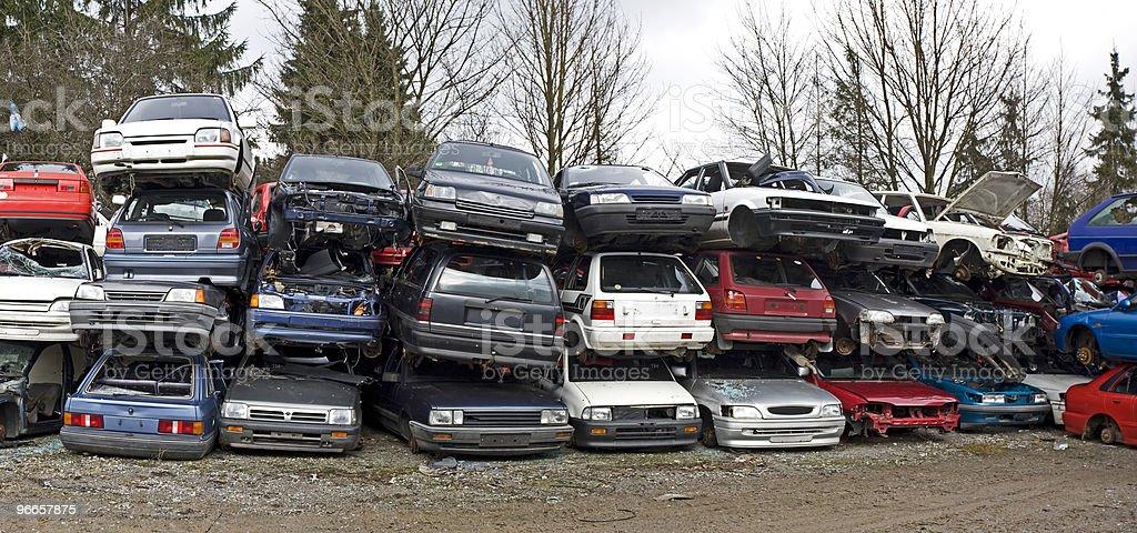 car cemetery panorama royalty-free stock photo