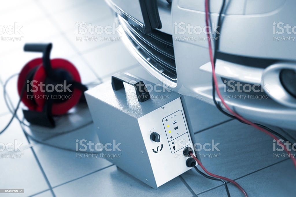 car charger at dealership stock photo