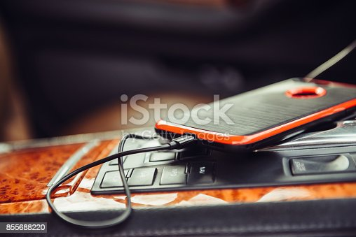 istock Car charger for the mobile phone 855688220